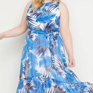 Lane Bryant Blue Palm High Low Maxi Dress Size 26W